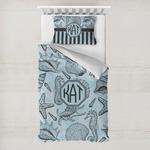 Sea-blue Seashells Toddler Bedding w/ Monogram