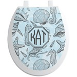 Sea-blue Seashells Toilet Seat Decal (Personalized)