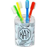 Sea-blue Seashells Toothbrush Holder (Personalized)