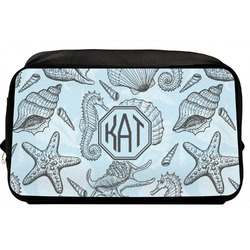 Sea-blue Seashells Toiletry Bag / Dopp Kit (Personalized)