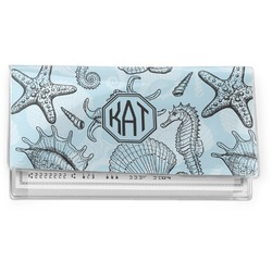 Sea-blue Seashells Vinyl Checkbook Cover (Personalized)