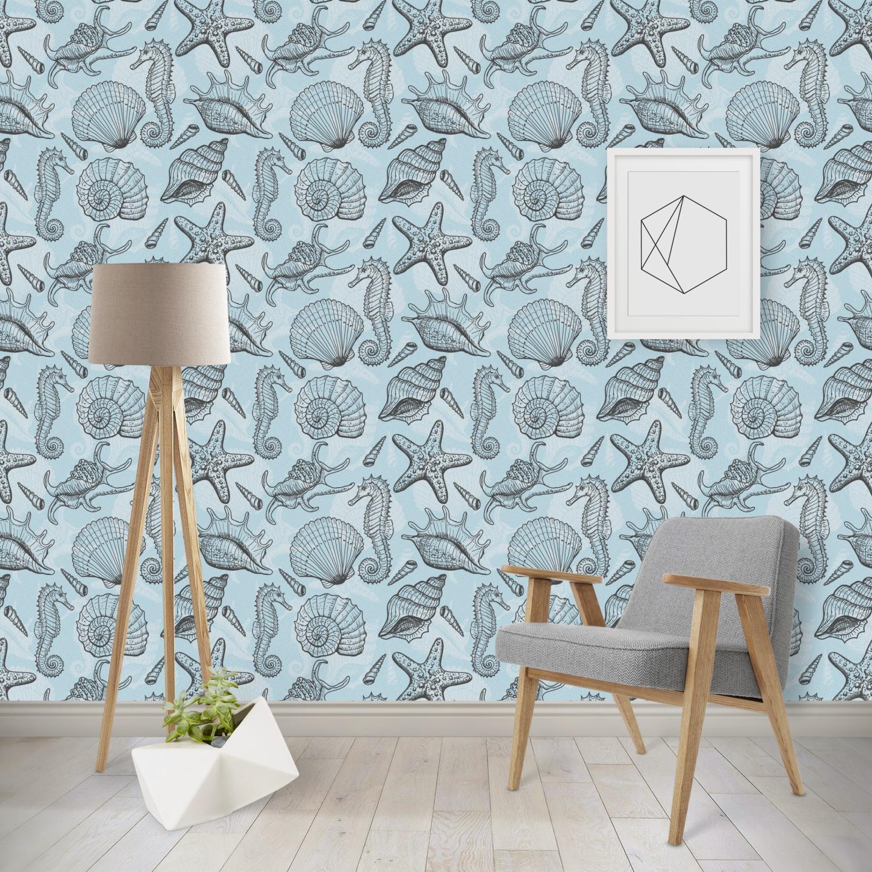 Sea-blue Seashells Wallpaper & Surface Covering (Peel ...