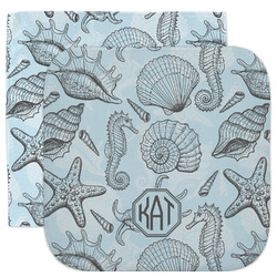 Sea-blue Seashells Facecloth / Wash Cloth (Personalized)
