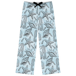 Sea-blue Seashells Womens Pajama Pants (Personalized)