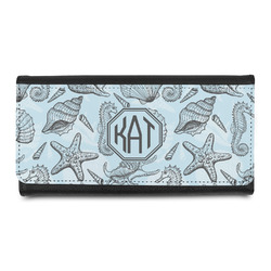 Sea-blue Seashells Leatherette Ladies Wallet (Personalized)