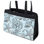 Sea-blue Seashells Zippered Everyday Tote (Personalized)
