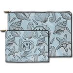 Sea-blue Seashells Zipper Pouch (Personalized)