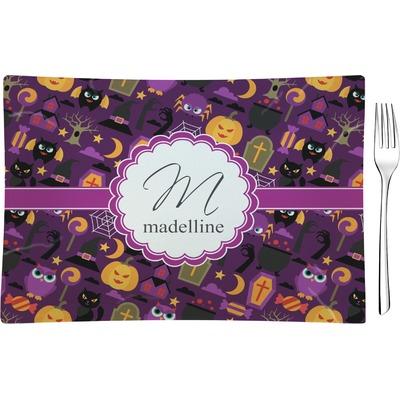 Halloween Rectangular Glass Appetizer / Dessert Plate - Single or Set (Personalized)