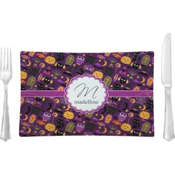 Halloween Glass Rectangular Lunch / Dinner Plate - Single or Set (Personalized)