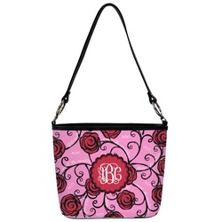 Alpha Omicron Pi Bucket Bag w/ Genuine Leather Trim (Personalized)