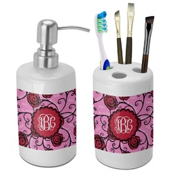 Alpha Omicron Pi Bathroom Accessories Set (Ceramic) (Personalized)
