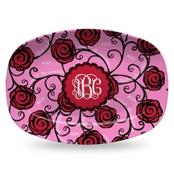 Alpha Omicron Pi Plastic Platter - Microwave & Oven Safe Composite Polymer (Personalized)