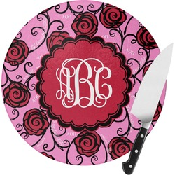 Alpha Omicron Pi Round Glass Cutting Board (Personalized)
