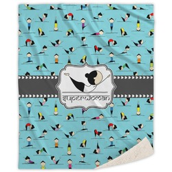 Yoga Poses Sherpa Throw Blanket (Personalized)