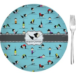 """Yoga Poses 8"""" Glass Appetizer / Dessert Plates - Single or Set (Personalized)"""
