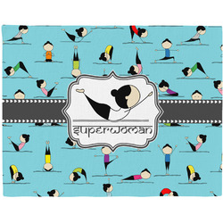 Yoga Poses Woven Fabric Placemat - Twill w/ Name or Text
