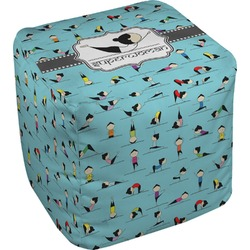Yoga Poses Cube Pouf Ottoman (Personalized)