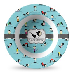 Yoga Poses Plastic Bowl - Microwave Safe - Composite Polymer (Personalized)