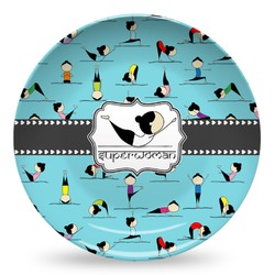 Yoga Poses Microwave Safe Plastic Plate - Composite Polymer (Personalized)
