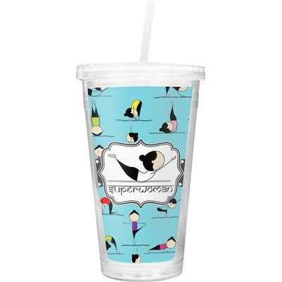 Yoga Poses Double Wall Tumbler with Straw (Personalized)