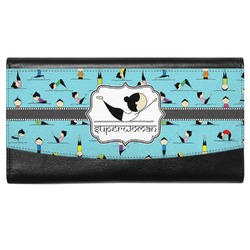 Yoga Poses Genuine Leather Ladies Wallet (Personalized)