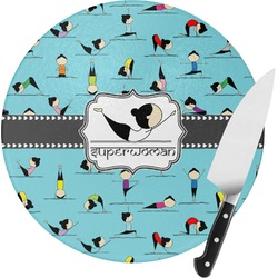 Yoga Poses Round Glass Cutting Board (Personalized)