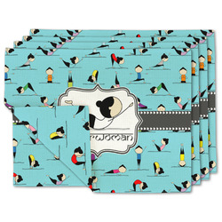 Yoga Poses Linen Placemat w/ Name or Text