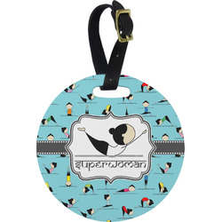 Yoga Poses Round Luggage Tag (Personalized)