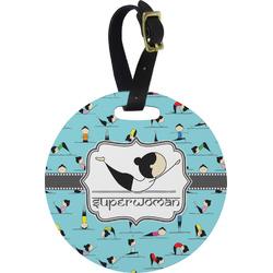 Yoga Poses Round Luggage Tag (Personalized)