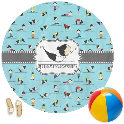 Yoga Poses Round Beach Towel (Personalized)