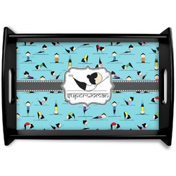 Yoga Poses Black Wooden Tray (Personalized)