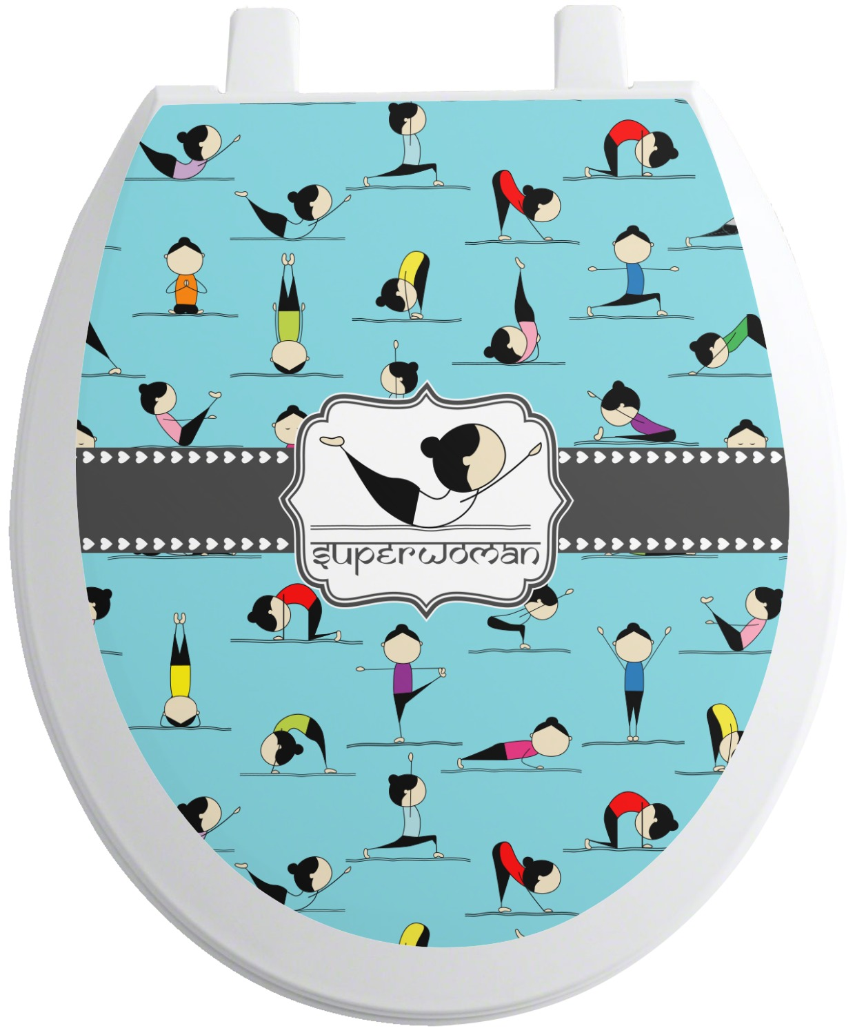 Yoga Poses Toilet Seat Decal (Personalized) - YouCustomizeIt