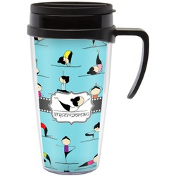 Yoga Poses Travel Mug with Handle (Personalized)
