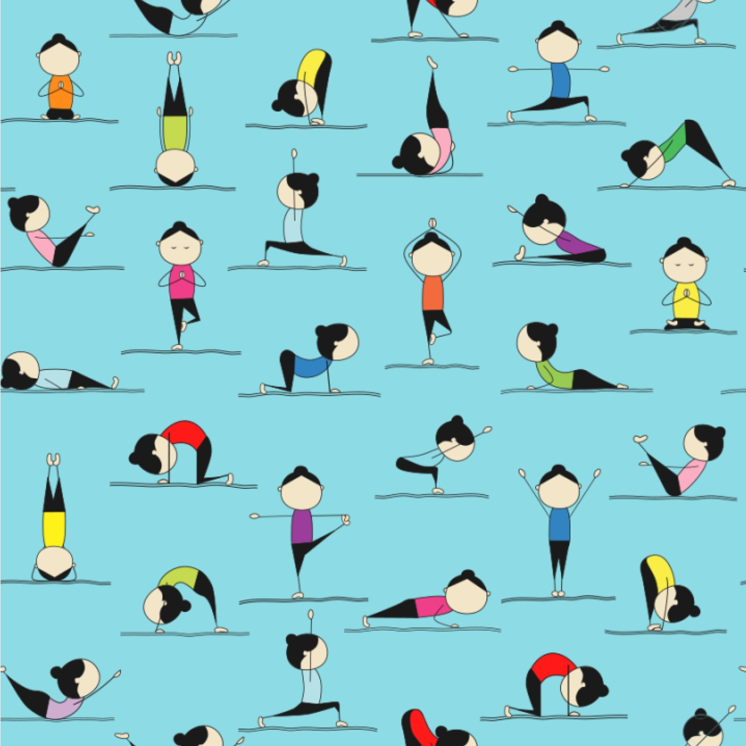 Yoga Poses Wallpaper & Surface Covering - You Customize It