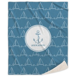 Rope Sail Boats Sherpa Throw Blanket (Personalized)