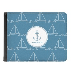 Rope Sail Boats Genuine Leather Men's Bi-fold Wallet (Personalized)