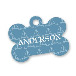 Rope Sail Boats Bone Shaped Dog Tag (Personalized)