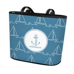 Rope Sail Boats Bucket Tote w/ Genuine Leather Trim (Personalized)