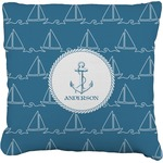 Rope Sail Boats Faux-Linen Throw Pillow (Personalized)