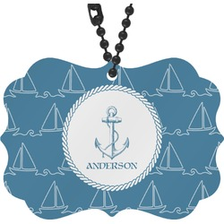 Rope Sail Boats Rear View Mirror Charm (Personalized)