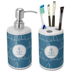 Rope Sail Boats Bathroom Accessories Set (Ceramic) (Personalized)