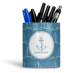 Rope Sail Boats Ceramic Pen Holder
