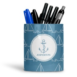 Rope Sail Boats Ceramic Pen Holder