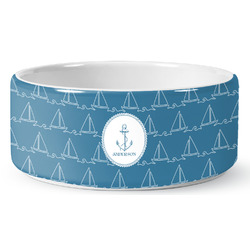 Rope Sail Boats Ceramic Pet Bowl (Personalized)