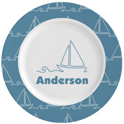 Rope Sail Boats Ceramic Dinner Plates (Set of 4) (Personalized)