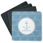 Rope Sail Boats 4 Square Coasters - Rubber Backed (Personalized)