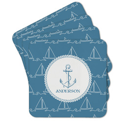 Rope Sail Boats Cork Coaster - Set of 4 w/ Name or Text