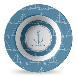 Rope Sail Boats Plastic Bowl - Microwave Safe - Composite Polymer (Personalized)