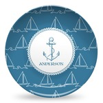 Rope Sail Boats Microwave Safe Plastic Plate - Composite Polymer (Personalized)