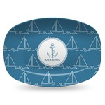 Rope Sail Boats Plastic Platter - Microwave & Oven Safe Composite Polymer (Personalized)